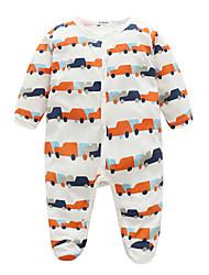 cheap -Baby Boys' Basic Daily Print Printing Long Sleeve Cotton Romper White / Toddler