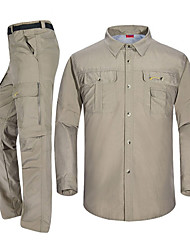 cheap -Men's Hiking Shirt with Pants Convertible Pants / Zip Off Pants Long Sleeve Outdoor Fast Dry Quick Dry Breathability Multi Pocket Convert to Short Sleeves Clothing Suit Spring Summer Polester