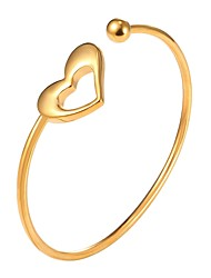 cheap -Women's Cuff Bracelet Hollow Heart Ladies Fashion Stainless Steel Bracelet Jewelry Gold / Silver For Gift Daily
