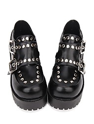 cheap -Women's Lolita Shoes Vintage Gothic Lolita Punk Wedge Heel Shoes Solid Colored 8 cm Black PU(Polyurethane) Halloween Costumes