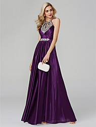 cheap -A-Line Halter Neck Floor Length Silk Empire / Purple Prom / Party Wear Dress with Sequin / Crystals 2020