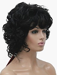 cheap -Synthetic Wig Curly Middle Part Synthetic Hair Best Quality Black Wig Women's Short Machine Made
