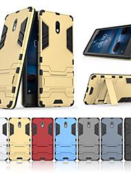 Недорогие -Кейс для Назначение Nokia Nokia 3 со стендом Кейс на заднюю панель Однотонный Твердый ПК