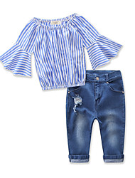 cheap -Kids Girls' Active Basic Daily Holiday Striped Ruffle Hole Half Sleeve Regular Clothing Set Blue
