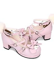 cheap -Women's Lolita Shoes Princess Lolita Chunky Heel Shoes Geometric 4.5 cm Pink PU(Polyurethane) Halloween Costumes