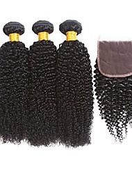 cheap -3 Bundles with Closure Indian Hair Curly Human Hair Natural Color Hair Weaves / Hair Bulk Extension Hair Weft with Closure 8-22 inch Black Natural Color Human Hair Weaves Best Quality For Black Women