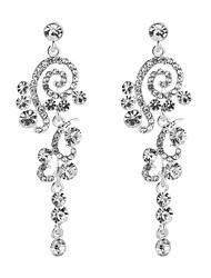 cheap -Women's Cubic Zirconia Drop Earrings Long Drop Flower Classic Elegant Sterling Silver Earrings Jewelry Silver For Wedding Evening Party 1 Pair