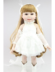 cheap -NPKCOLLECTION 18 inch NPK DOLL Fashion Doll Country Girl Gift Cute Artificial Implantation Brown Eyes with Clothes and Accessories for Girls' Birthday and Festival Gifts