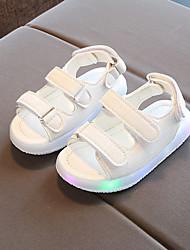 cheap -Girls' LED / LED Shoes PU Sandals Toddler(9m-4ys) / Little Kids(4-7ys) Magic Tape / LED Black / White / Yellow Spring &  Fall