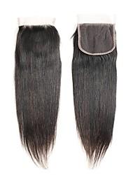 abordables -Cheveux Brésiliens 4x4 Fermeture Droit Dentelle Suisse Cheveux humains Femme Meilleure qualité / 100% vierge / Fermeture de dentelle Noël / Regalos de Navidad / Mariage