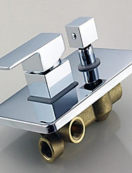 cheap -Shower Faucet - Contemporary Chrome Wall Mounted Ceramic Valve Bath Shower Mixer Taps / Brass / Single Handle One Hole