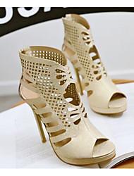 cheap -Women's Sandals Stiletto Heel PU Comfort Summer Black / White / Gold