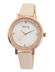 Недорогие -Жен. Нарядные часы Diamond Watch Японский Японский кварц Натуральная кожа Черный / Белый / Коричневый 30 m Защита от влаги Очаровательный Аналоговый Дамы Мода минималист - Бежевый Коричневый Розовый