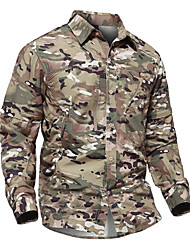 cheap -Men's Hiking Shirt / Button Down Shirts Long Sleeve Shirt Top Outdoor Fast Dry Breathability Wearable Quick Dry Autumn / Fall Spring Convert to Short Sleeves Nylon Cotton Camo Army Green Grey Khaki