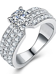 cheap -Women's Ring Promise Ring Micro Pave Ring 1pc Silver Brass Platinum Plated Imitation Diamond Four Prongs Ladies Luxury Unique Design Wedding Gift Jewelry Stylish Halo Eyes Fireworks Cool