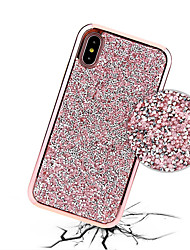 cheap -Case For Apple iPhone X / iPhone 8 Plus / iPhone 8 Rhinestone / Plating Back Cover Glitter Shine Hard PC