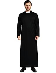 cheap -Missionary Costume Men's Highschool Halloween Christmas Halloween Carnival Festival / Holiday Polyster Outfits Black Solid Colored Halloween