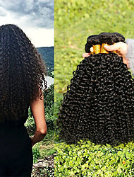 cheap -3 Bundles Indian Hair Kinky Curly Human Hair Unprocessed Human Hair Natural Color Hair Weaves / Hair Bulk Hair Care Bundle Hair 8-28 inch Natural Color Human Hair Weaves Creative Soft Thick Human