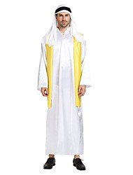 cheap -Arabian Costume Men's Adults Halloween Halloween Carnival Masquerade Festival / Holiday Polyster Outfits White Solid Colored Halloween
