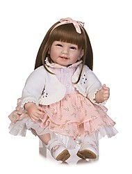 cheap -NPKCOLLECTION 24 inch NPK DOLL Reborn Doll Indian Girl Reborn Toddler Doll Gift Hand Made Artificial Implantation Brown Eyes Cloth 3/4 Silicone Limbs and Cotton Filled Body with Clothes and