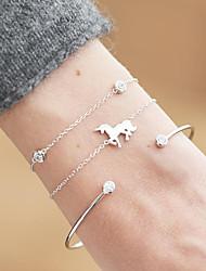 cheap -3pcs Women's Cubic Zirconia Chain Bracelet Bracelet Classic Horse Unicorn Ladies Classic Fashion Elegant Alloy Bracelet Jewelry Gold / Silver For Daily Birthday
