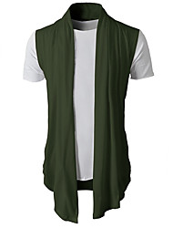 cheap -Men's Daily Solid Colored Sleeveless Regular Cardigan Sweater Jumper, V Neck Wool Black / Light gray / Army Green M / L / XL