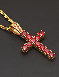 cheap -Men's Cubic Zirconia Pendant Necklace Chain Necklace Stylish Cuban Link Cross Faith European Trendy Hip-Hop Copper Rhinestone Black Dark Red 60 cm Necklace Jewelry 1pc For Street Club