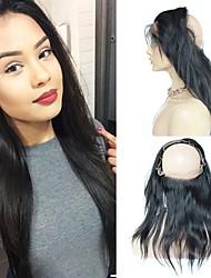abordables -Cheveux Brésiliens 360 frontal Droit Partie gratuite Dentelle Suisse Cheveux humains Femme Meilleure qualité / 100% vierge / Fermeture de dentelle Noël / Mariage / Halloween