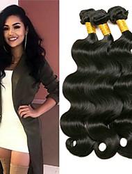 cheap -3 Bundles Indian Hair Wavy Human Hair Natural Color Hair Weaves / Hair Bulk Human Hair Extensions 8-28 inch Black Natural Color Human Hair Weaves Classic Women Extention Human Hair Extensions / 8A
