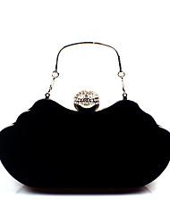 cheap -Women's Crystals Corduroy / Velvet Evening Bag Rhinestone Crystal Evening Bags Black / Wine / Purple / Fall & Winter
