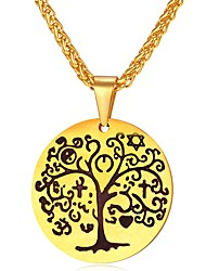 cheap -Men's Pendant Necklace Rope Foxtail chain Engraved Tree of Life life Tree Fashion Stainless Steel Gold Silver 55 cm Necklace Jewelry 1pc For Gift Daily