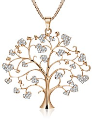 cheap -Women's Statement Necklace Rope Tree of Life life Tree Ladies Stylish Dangling Sweet Lolita Rhinestone Alloy Gold Silver Rose Gold 75 cm Necklace Jewelry 1pc For Wedding Masquerade Engagement Party
