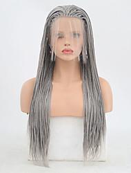abordables -Perruque Lace Front Synthétique Box Braids Tressage Lace Frontale Perruque Long Grise Cheveux Synthétiques 24 pouce Femme Ajustable Résistant à la chaleur Homme Gris