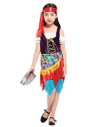 cheap -Cosplay Costume Girls' Kids Halloween Halloween Carnival Children's Day Festival / Holiday Polyster Outfits Rainbow Solid Colored Halloween