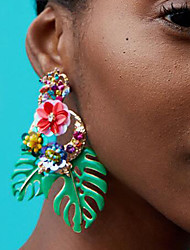 cheap -Women's Drop Earrings Floral / Botanicals Leaf Flower Ladies European Fashion African Earrings Jewelry Red / Green / Light Pink For Daily Office & Career 1 Pair