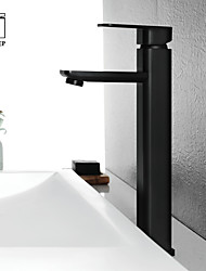 cheap -Black Basin Faucets Modern Bathroom hot and cold Mixer Tap Brass Single Handle Single Hole with pop up drain