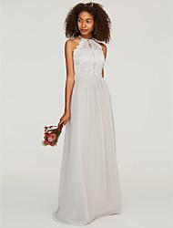 cheap -A-Line Halter Neck Floor Length Chiffon / Lace Bridesmaid Dress with Lace / Pleats