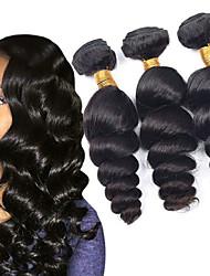 cheap -3 Bundles Mongolian Hair Loose Wave Human Hair Headpiece Extension Bundle Hair 8-28 inch Black Natural Color Human Hair Weaves Silky Woven Best Quality Human Hair Extensions / African American Wig