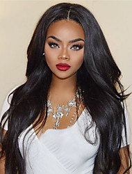cheap -Synthetic Wig / Synthetic Lace Front Wig Wavy Kardashian Style Layered Haircut Lace Front Wig Black Natural Black Dark Brown Synthetic Hair Women's with Baby Hair / Soft / Heat Resistant Black Wig