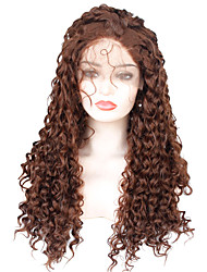cheap -Synthetic Lace Front Wig Curly Bob Pixie Cut Lace Front Wig Ombre Long Dark Auburn Synthetic Hair Women's Party Synthetic Ombre Hair Dark Brown Ombre / African American Wig / For Black Women