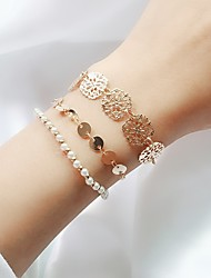 cheap -3pcs Women's Chain Bracelet Layered Floral Theme Ladies Simple Trendy Fashion Imitation Pearl Bracelet Jewelry Gold For Daily Going out
