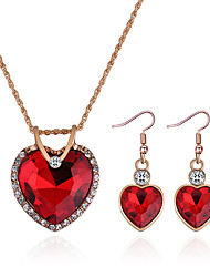 cheap -Women's Necklace Earrings Stylish Heart Ladies European Fashion Elegant Rhinestone Earrings Jewelry Red For Daily Evening Party