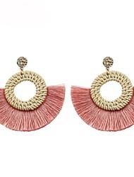 cheap -Women's Drop Earrings fan earrings Tassel Ladies Geometric Tassel Earrings Jewelry Pink / Light Brown For Gift Daily 1 Pair