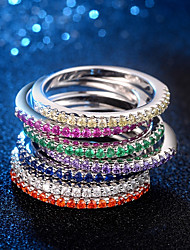 cheap -Women's Ring Knuckle Ring Eternity Band Ring 1pc White Purple Yellow Copper Platinum Plated Imitation Diamond Ladies Elegant Trendy Daily Date Jewelry Stylish Star Heart Lovely