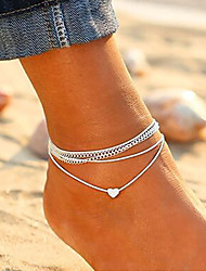 cheap -Ankle Bracelet feet jewelry Ladies Korean Fashion Women's Body Jewelry For Daily Going out Layered Stacking Stackable Cotton Alloy Heart Silver 1pc