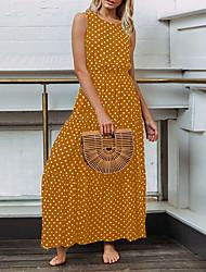cheap -Women's Daily Going out Active Cute Petal Sleeve Chiffon Dress - Polka Dot Ruffle Black Yellow Blue S M L XL