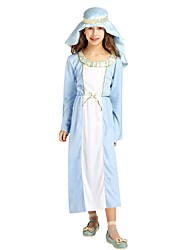 cheap -Cosplay Costume Girls' Kids Halloween Halloween Carnival Children's Day Festival / Holiday Polyster Outfits Ink Blue Solid Colored Halloween