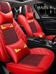 cheap -5 seats red Cartoon car seat cover with two headrest and two waist cushions/PU leather and ice silk material/Airbag compatibility/Four Seasons Universal