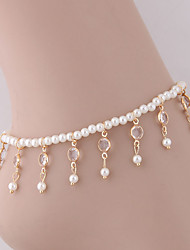 cheap -Ankle Bracelet Dangling European Fashion Women's Body Jewelry For Party Daily Beaded Imitation Pearl Alloy Drop Gold Silver 1pc