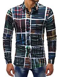 cheap -Men's Daily Weekend Basic Cotton Shirt - Plaid Print Rainbow / Long Sleeve
